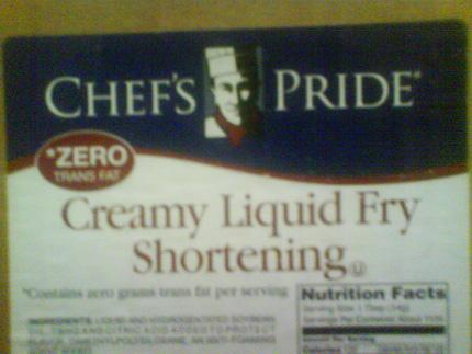 chef's pride creamy liquid fry shortening